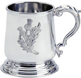 Pewter Tankard Scottish George 3rd Shape Thistle Badge Ornate 1pt Polished Great Gift