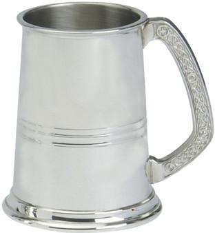 Mens Pewter Tankard 1pt Celtic Design Handle Engravable Great Gift