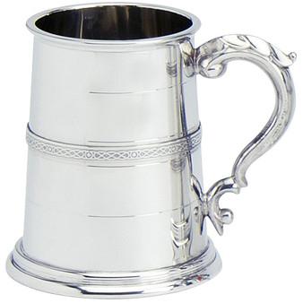 Pewter Tankard Handmade Scottish Stuart Banded Wide Base Polished Finish 1pt Great Gift