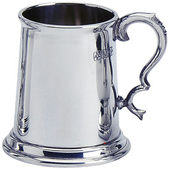1/2 pt Tankard Pewter Scottish Shape Plain Wide Base Engravable Polished Finish Great Gift