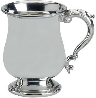 Half Pint Pewter Tankard Scottish Broad Rimmed Shape Ornate Handle Great Gift