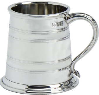 Pewter Tankard Windsor Style Wide Based Ornate Handle Beer Mug Engravable Great Gift