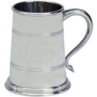 Pewter Tankard Classic Shape Wide Base Polished Finish 1pt Glass Base Great Gift
