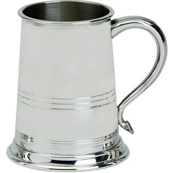 Pewter Tankard Bath Style Triple Banded 1 Pint Ornate Beer Mug Glass Base Great Gift