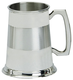 Pewter Tankard Handmade Satin Band Traditional Handle Pewter Great Gift