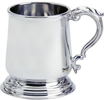 Pewter Tankard George 3rd Plain Shape Ornate Handle 1pt Great Gift