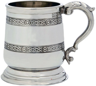 Pewter Tankard George 3rd Shape Double Celtic Band Ornate Handle 1pt Polished Great Gift