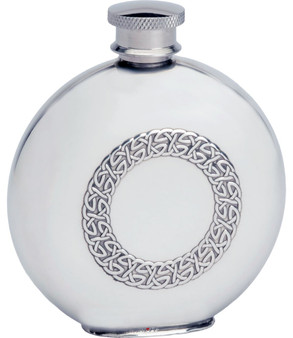 4oz Round Pewter Hip Flask with Embossed Celtic Ring Design Ideal Gift