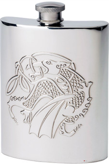 6oz Pewter Hip Flask With Embossed Kells Dragon Design Ideal Gift