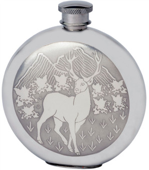 Pewter 6oz Round Hip Flask With Embossed Stag Design Great Gift