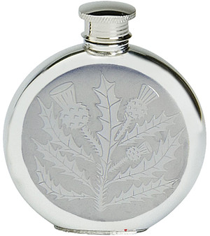 Pewter Hip Flask Round Scottish Classic Thistle Design 6oz Screw Top Engravable