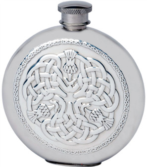 4oz Round Pewter Hip Flask With Embossed Celtic Thistle Design Ideal Gift