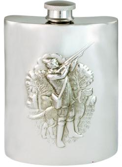 Shotgun Shooting Hip Flask 6oz Kidney Shape Pewter Engravable On Back Great Gift