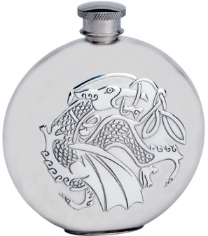 6oz Round Pewter Flask With Embossed Kells Dragon Design Ideal Gift