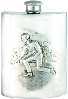 Kings Bowling Hip Flask 6oz Kidney Shape Pewter Engravable on Back Great Gift