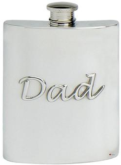 Embossed Dad Hip Flask Kidney Shape Pewter Engravable on Back Great Gift