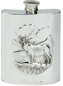 Highland Stag Hip Flask 6oz Kidney Shape Pewter Engravable on Back Great Gift