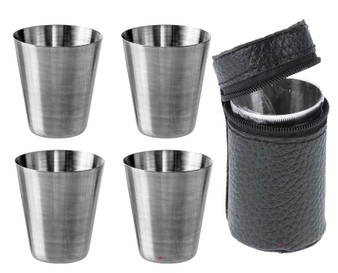 Four Drinking Travel Cups Set With Leather Case Ideal With Flask Great Gift