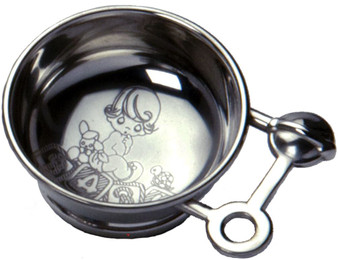 Children's Pewter Porridge Bowl with Rattle Handle with Baby Scene Engraving