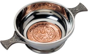 "4"" Quaich with Scottish Celtic Design Copper Insert Celtic Design Handles Ideal Gift"