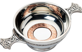 """3"""" Quaich with Scottish Celtic Design Copper Ring Insert Celtic Handles Ideal Gift"""