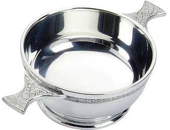 """Scottish Quaich Celtic Handles Wiring Pewter 4"""" Cup of Friendship Great Gift Ideal Gift"""