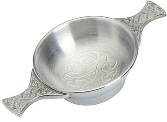 "Celtic Design Scottish Quaich Celtic Handles 2"" Bowl Pewter Cup of Friendship Ideal Gift"