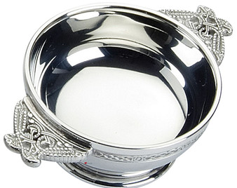 """Celtic Wire Scottish Quaich Serpent Handles Pewter 3"""" Bowl Cup of Friendship Ideal Gift"""