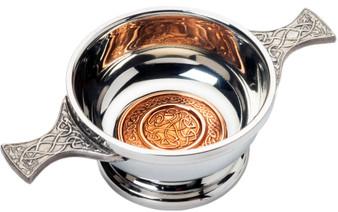 "2"" Quaich with Scottish Celtic Design Copper Insert Celtic Design Handles Ideal Gift"