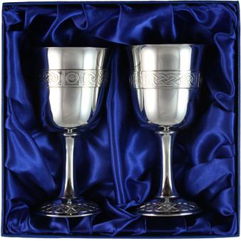 Pewter Stemmed Medieval Goblets Presentation Boxed Ideal Wedding Gift