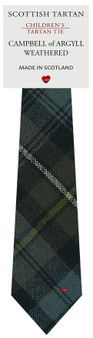 Boys Pure Wool Tie Woven Scotland - Campbell of Argyll Weathered Tartan