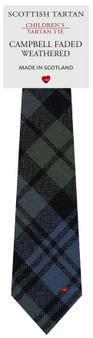 Boys Pure Wool Tie Woven Scotland - Campbell Faded Weathered Tartan