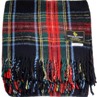 Scottish Tartan Wool Mix Blanket Throw Warm and Soft Stewart Black Travel Plaid Picnic Knee Wool Rug 182 cm x 152 cm