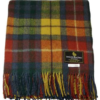 Scottish Tartan Wool Mix Blanket Throw Warm and Soft Buchanan Antique Travel Plaid Picnic Knee Wool Rug 182 cm x 152 cm