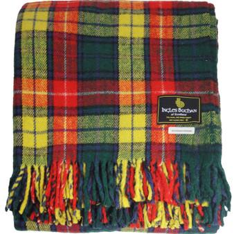 Scottish Tartan Wool Mix Blanket Throw Warm and Soft Buchanan Travel Plaid Picnic Knee Wool Rug 182 cm x 152 cm