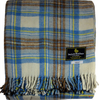 Scottish Tartan Wool Mix Blanket Throw Warm and Soft Stewart Muted Blue Travel Plaid Picnic Knee Wool Rug 182 cm x 152 cm