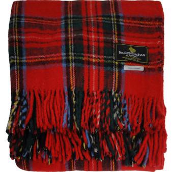 Scottish Tartan Wool Mix Blanket Throw Warm and Soft Royal Stewart Travel Plaid Picnic Knee Wool Rug 182 cm x 152 cm