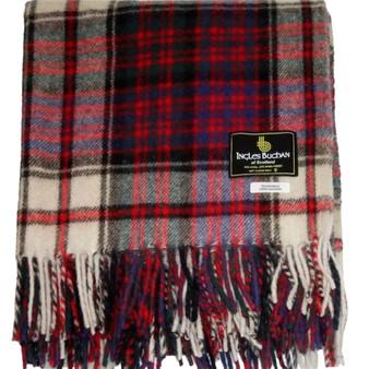 Scottish Tartan Wool Mix Blanket Throw Warm and Soft MacDonald Modern Dress Travel Plaid Picnic Knee Wool Rug 182 cm x 152 cm
