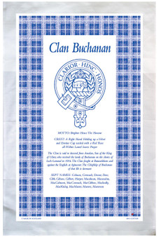 Buchanan Scottish Clan Tea Towel Scottish Gift, Made in Scotland