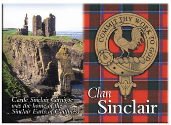 Sinclair Scottish Clan Metallic Picture Fridge Magnet, Made in Scotland