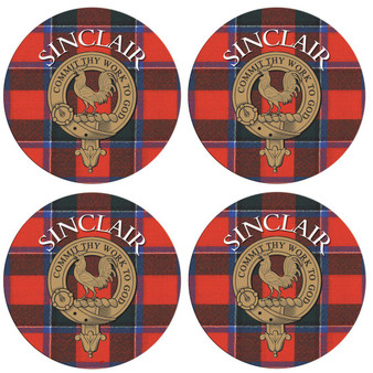 Sinclair Scottish Clan Family Name Round Cork Coasters Set of 4