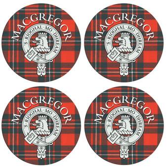 MacGregor Scottish Clan Family Name Round Cork Coasters Set of 4