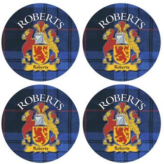 Roberts Scottish Clan Family Name Round Cork Coasters Set of 4