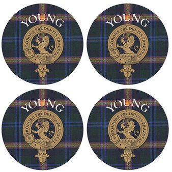 Young Scottish Clan Family Name Round Cork Coasters Set of 4