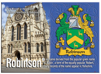 Robinson English Ancestry Family Name Metallic Picture Magnet Souvenir Gift