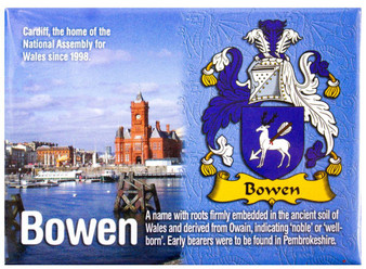 Bowen Welsh Ancestry Family Name Metallic Picture Magnet