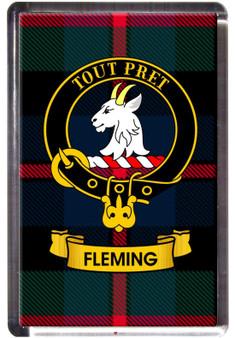 Fleming Clan Tartan Fridge Magnet with Scottish Clan Crest on Clear Acrylic Rectangular Base