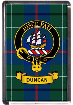 Duncan Clan Tartan Fridge Magnet with Scottish Clan Crest on Clear Acrylic Rectangular Base