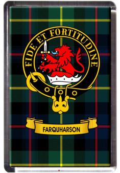 Farquharson Clan Tartan Fridge Magnet with Scottish Clan Crest on Clear Acrylic Rectangular Base