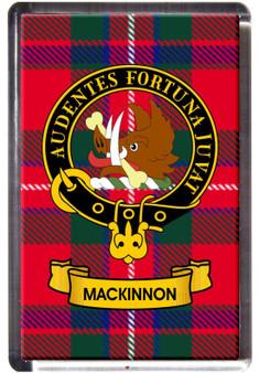MacKinnon Clan Tartan Fridge Magnet with Scottish Clan Crest on Clear Acrylic Rectangular Base